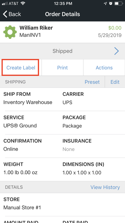Mobile Order Details screen with Create Label button highlighted