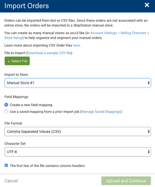 Import Orders – ShipStation