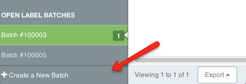 Orders left-hand sidebar. Red arrow points to Create a New Batch button at screen bottom.