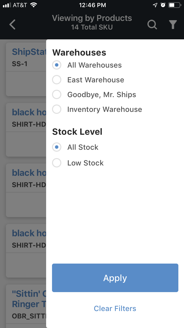 Mobile Inventory view by product filter menu.