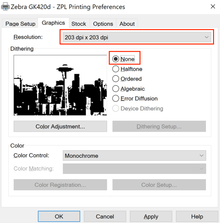 Zebra printer preference Graphics tab with resolution set to 203 dpi and dithering set to None.