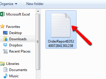 CSV file selected in Windows with arrow pointing to file.