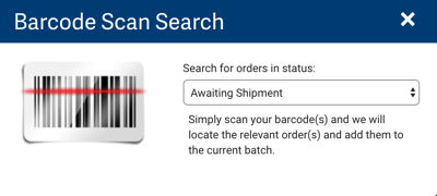 Barcode Scan Search popup. Select Orders in Status dropdown shows default: Awaiting Shipment​​