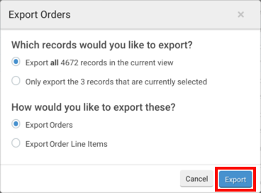 Export Orders pop-up. Red box highlights Export action button.