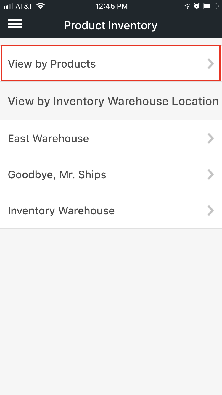 Mobile product inventory menu with View by Products option highlighted.