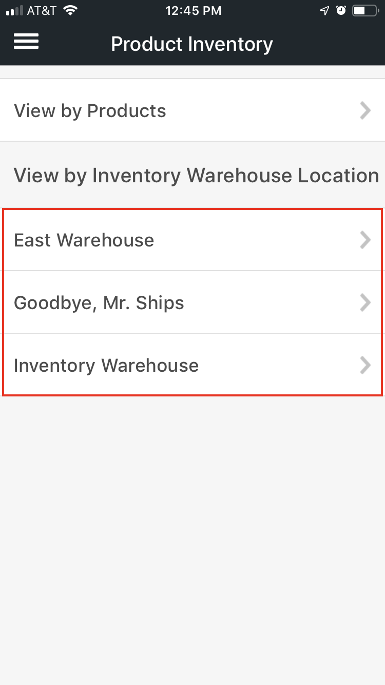 Mobile product inventory menu with Warehouse names highlighted.