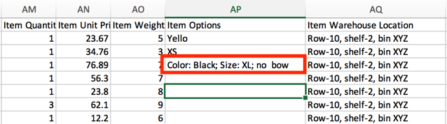 "Order import CSV with Item Options example showing key:value pair sample. ""Color: Black; Size: XL; no bow"""