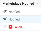 V3 Marketplace Notified column icons. Includes Notified & Failed