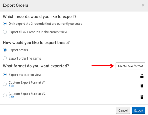 Export Orders pop-up. Red arrow points to Create a New Format button