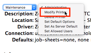 CUP Maintenance menu with Modify Printer option highlighted.