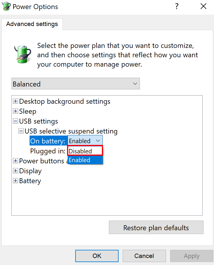 USB Selective suspend setting with Disabled option selected.