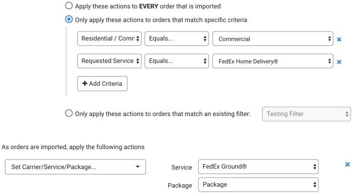 Automation Rules. Example for when to use FedEx Commercial
