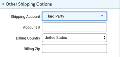 Other Shipping Options dropdown menu. Shipping Account option selected. Reads: Third Party