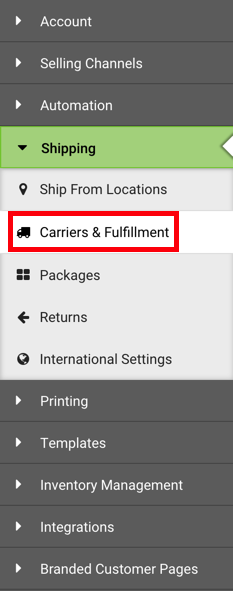 Settings Sidebar: Shipping dropdown. Red box highlights Carriers & Fulfillment option.