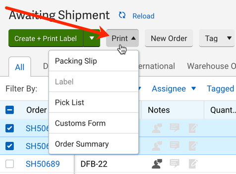 V3 Orders tab with red arrow pointing to print menu with drop-down options revealed
