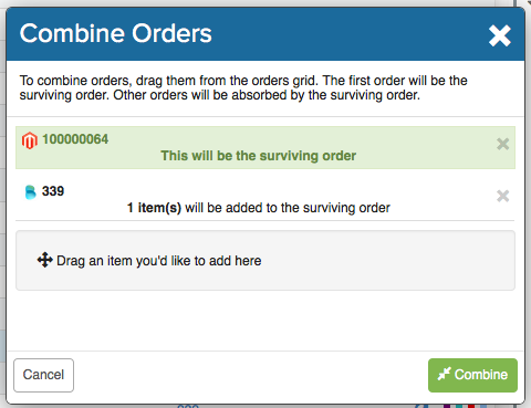 Combine Orders pop-up. Surviving order @ top, highlighted in green. Cancel button @ bottom-left, Confirm button @ bottom-right.