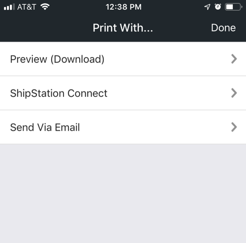 Mobile Print Label Option menu