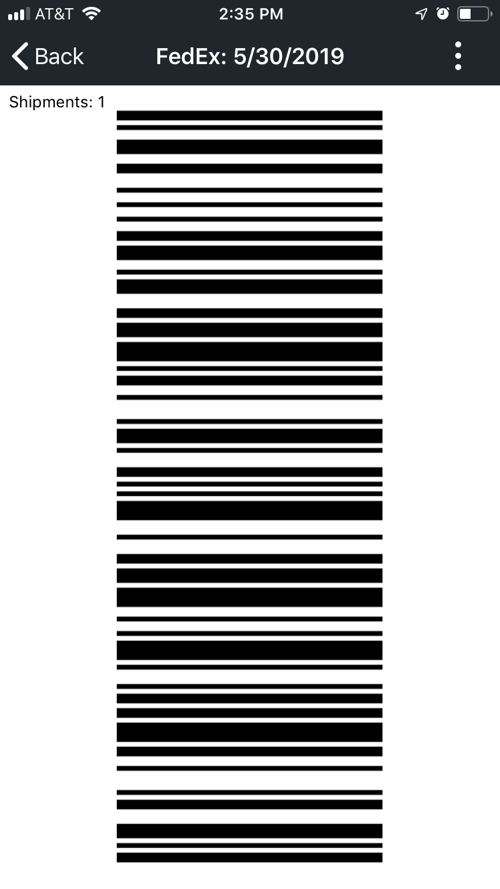 Mobile end of day scannable barcode screen