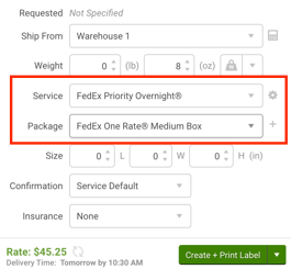 ShipStation configure shipment widget with service set to FedEx Priority overnight and Package set to FedEx one rate box